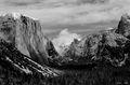 yosemite, classic, yosemite, valley, view, el capitan, half dome, B&W, landscape