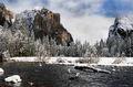 yosemite, winter, snow, merced, landscape