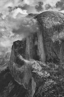 Yosemite, half dome, ron, saunders, ronald, black and white CPA, center, photographic art, clouds, fine art, Ronald, saunders