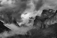 yosemite, black, white, ron, ronald, saunders, snow, winter,valley, view,landscape, fine art, keeble, shuchat, exhibition, clearing, weather, national, park