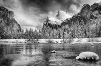 yosemite, black, white, ron, ronald, saunders, snow, winter,valley, view,landscape, fine art, keeble, shuchat,exhibition