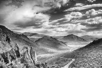 painted, hills, nevada, black, white, ron, ronald, saunders, view, landscape, fine art, keeble, shuchat,exhibition
