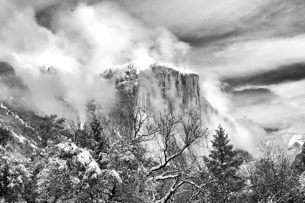 yosemite, black, white, ron, ronald, saunders, snow, winter,valley, view, landscape, fine art, keeble, shuchat, exhibition, clearing, weather, national, park