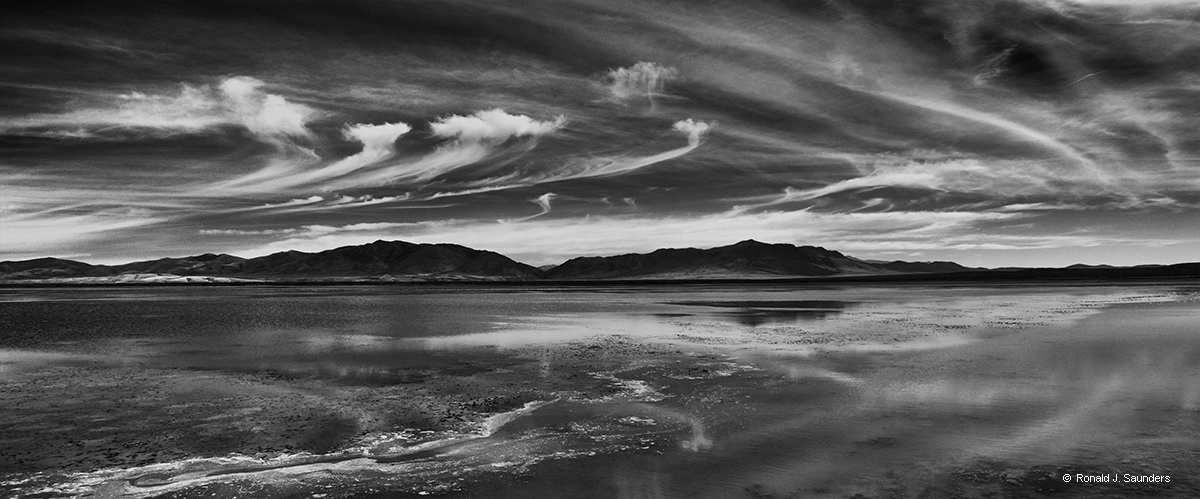 nevada, water, panorama, elko, Ronald, saunders, black, white, clouds, cirrus, exhibition, , photo