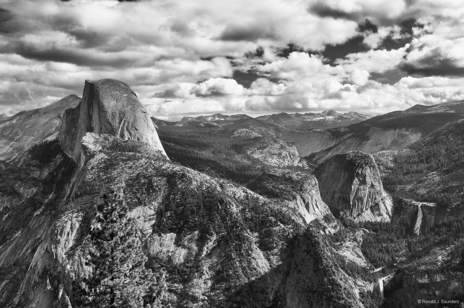 yosemite, B&W, vernal, navada, falls, clouds, photo