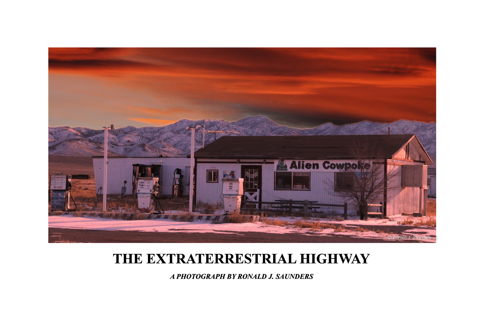 poster, nevada, rachel, UFO,  Extraterrestrial, Highway, landscape, photo