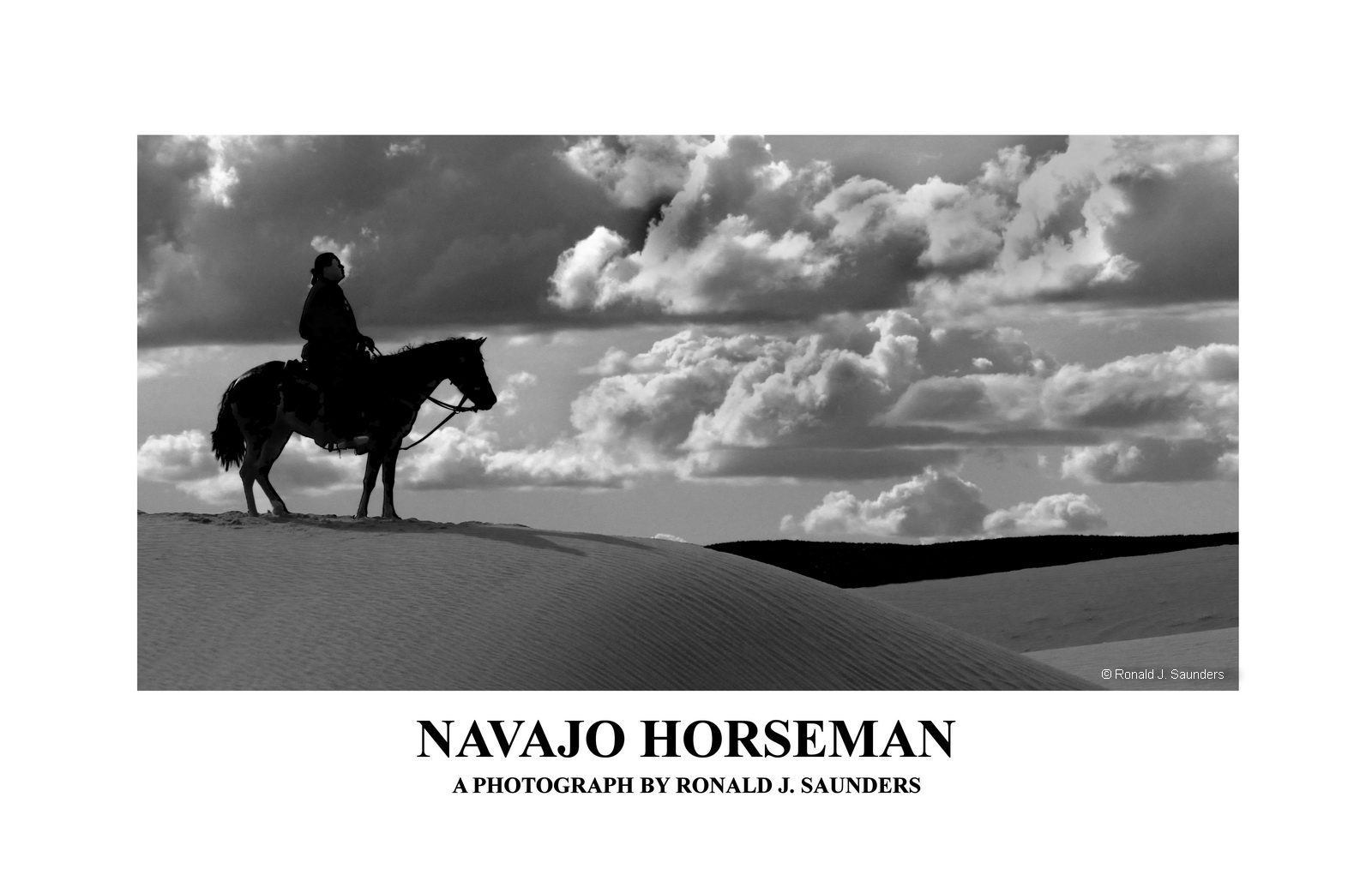 navajo, horse, horseman, dunes, sand, arizona chinli, clouds. B&W, poster, landscape, photo