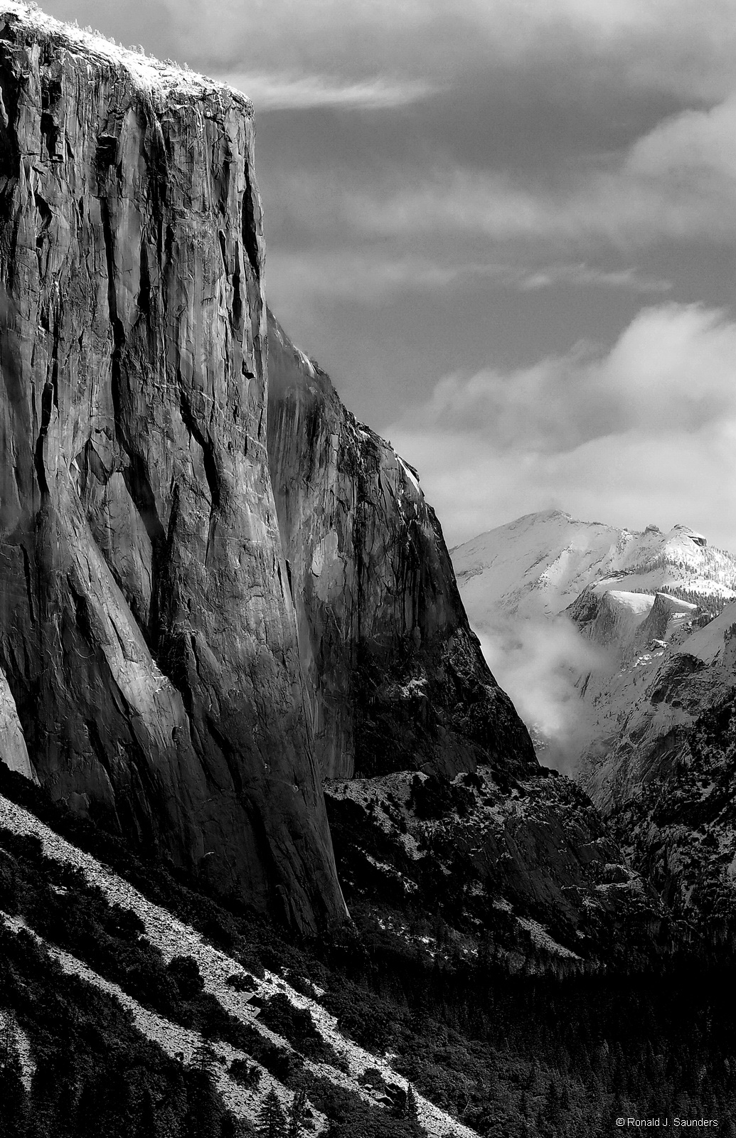 yosemite, el capitan, clouds, B&W, landscape, HDR, photo