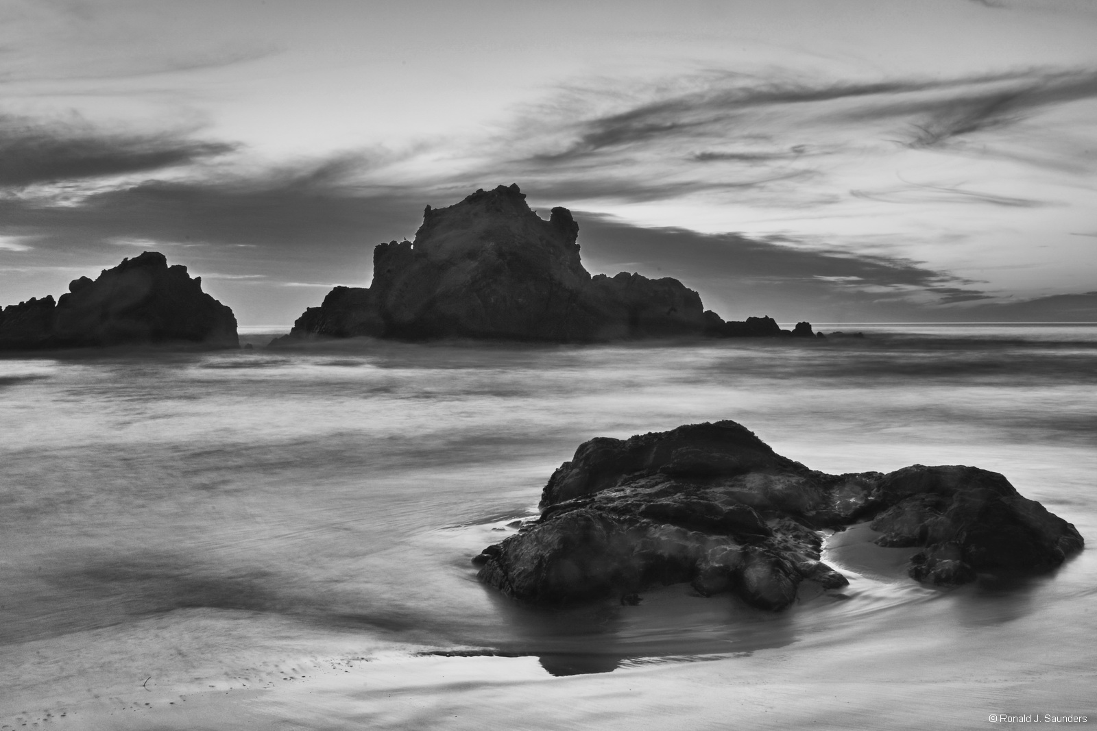 beach, black, white, sand, ocean, Pfeiffer, Big Sur, ronald, saunders, digital, photography, image, ronald, photo