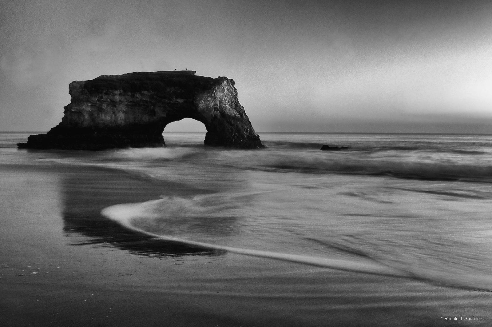 beach, B&W, arch, california, santa cruz, landscape, surf, water, sunsey, photo