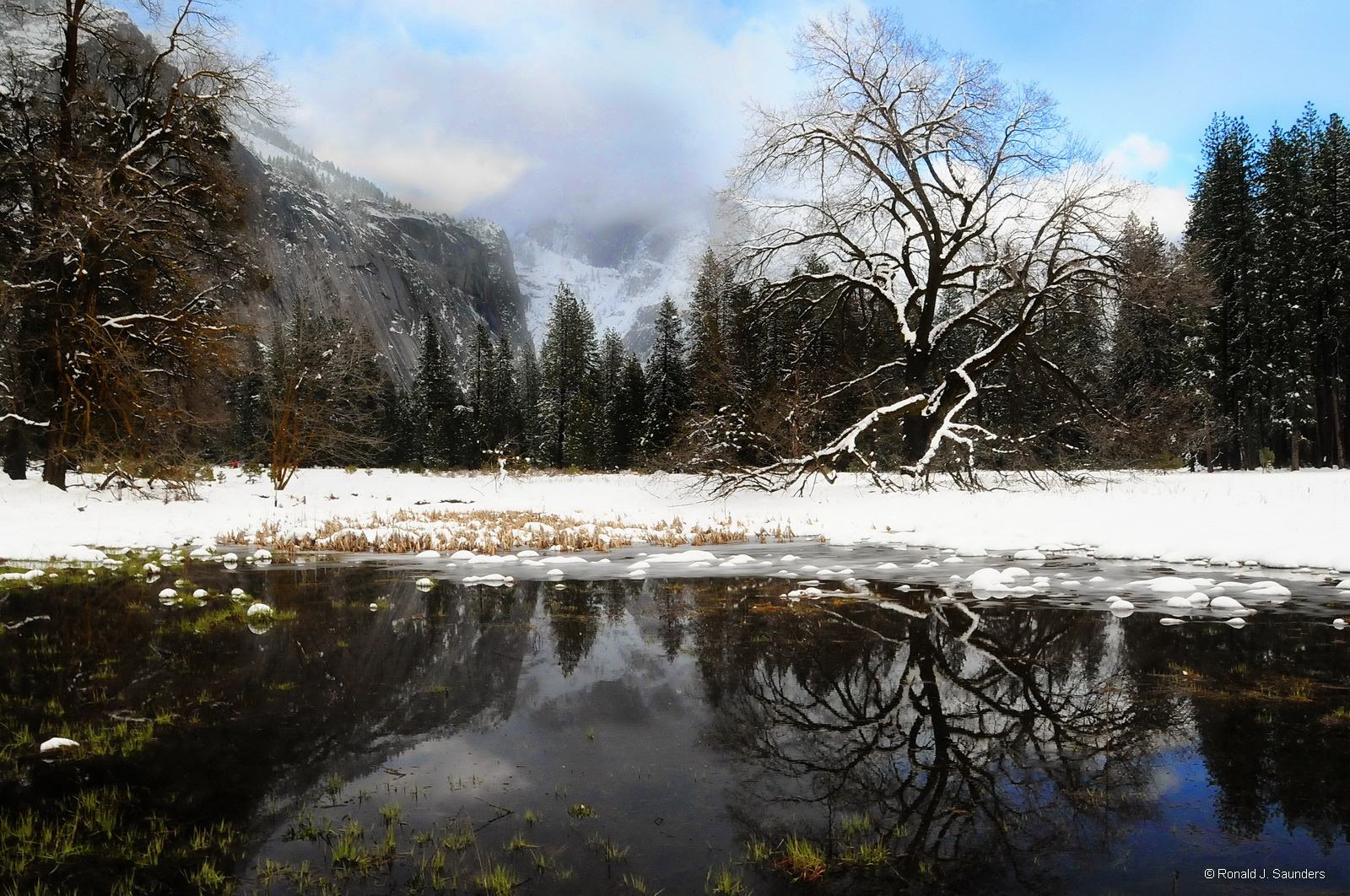 yosemite, meadows, pond, winter, reflection, color, photo