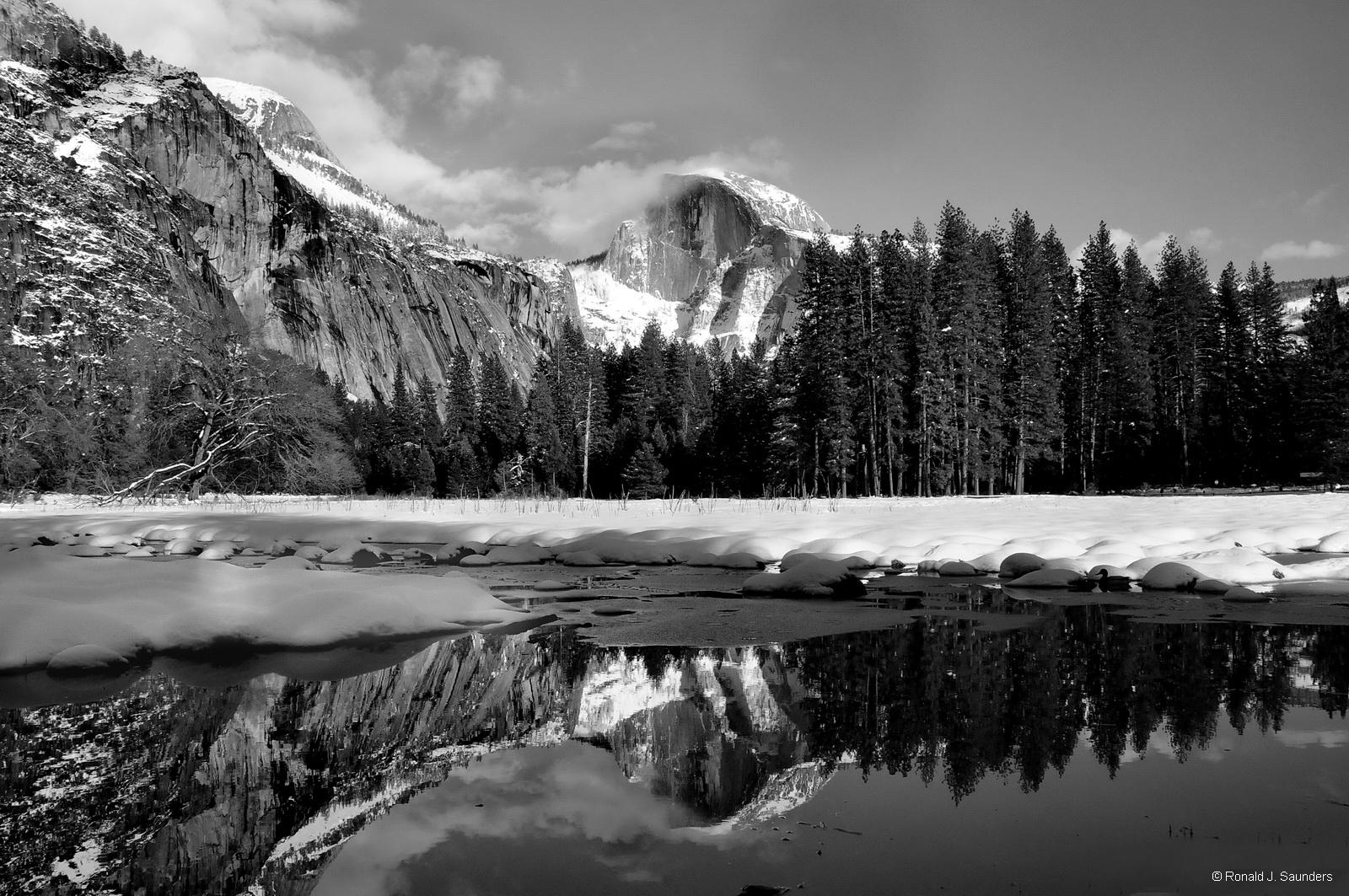 pond, reflection,Half Dome, winter,Yosemite, photo