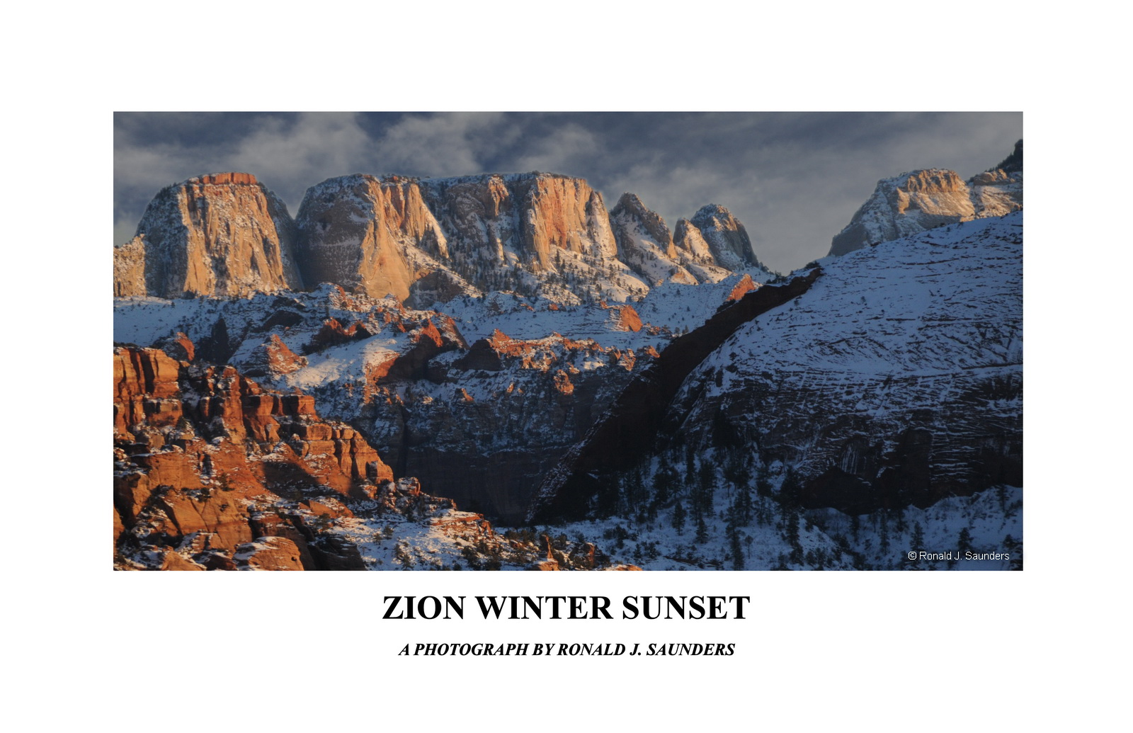 A seldom photgraphed view of Zion in winter during early evening sun.