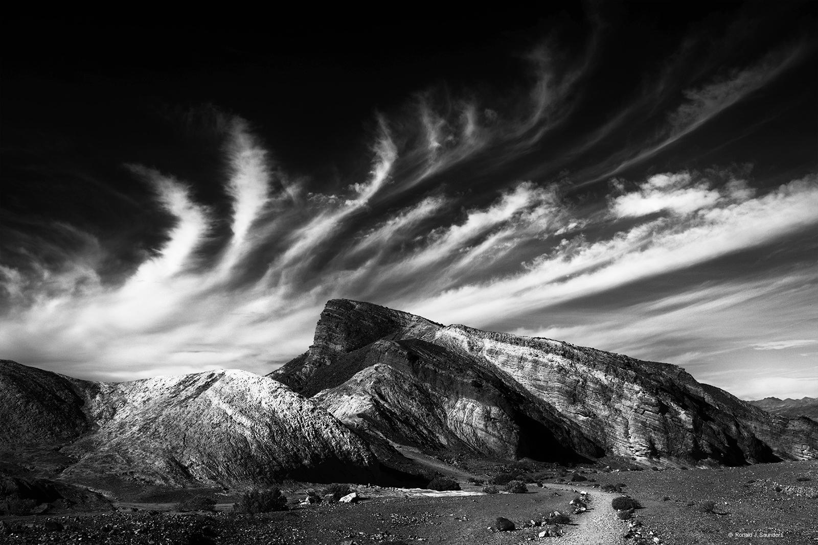death vally, california, Zabriskie Point, ronald, saunders, ronald j. saunders, landscape, desert, national, park, cloud, black and white, ansel adams, photo