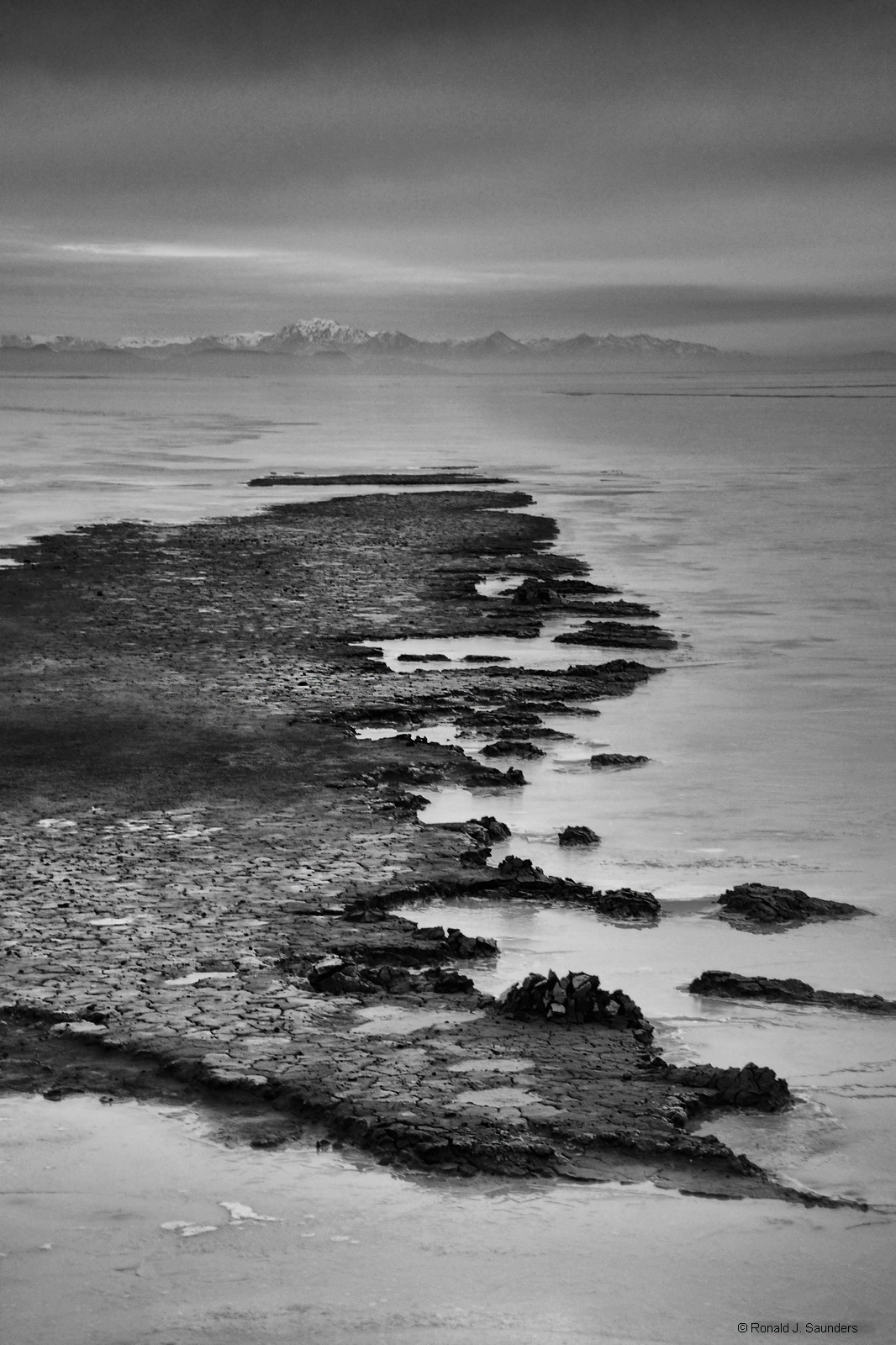 black rock, desert, ice, Nevada, Ronald, saunders, Ronald j saunders, black and white, playa, sand, mud, ice,, photo