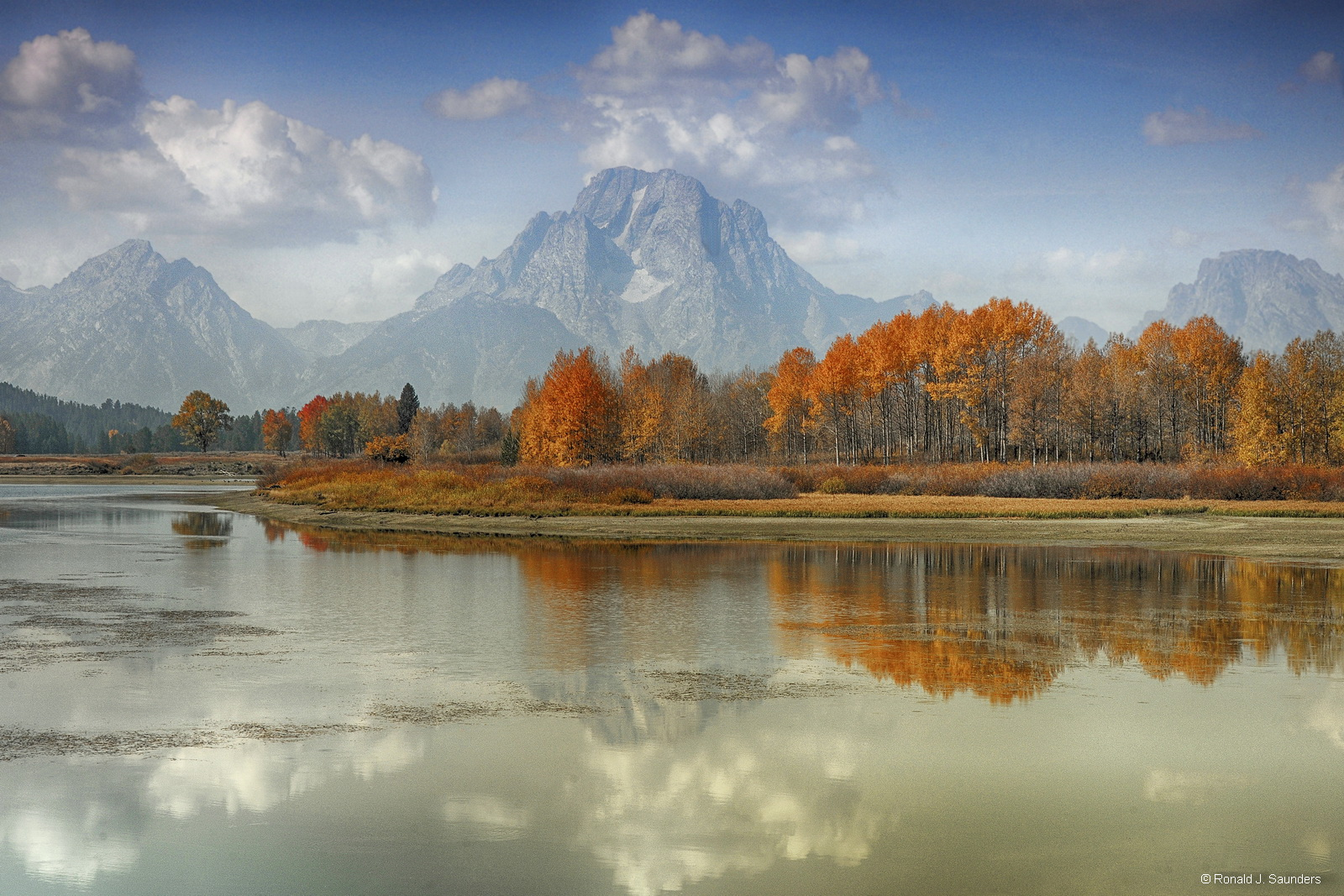 snake river, grand teton, water, fall, color, mountains, Mt Moran, autumn, ronals, saunders, ronald j. saunders, aspen, , photo