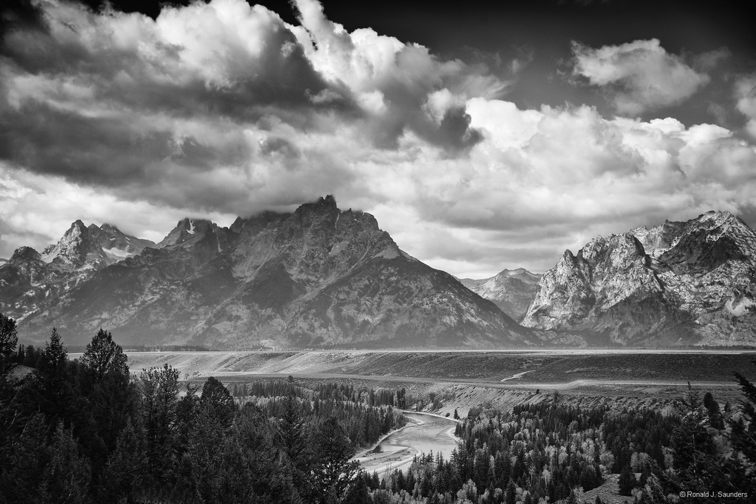 snake river, teton, river, ansel, adams, black, white, national, park, ron, saunders, ronald, ronald j saunders, landscape, photography, , photo