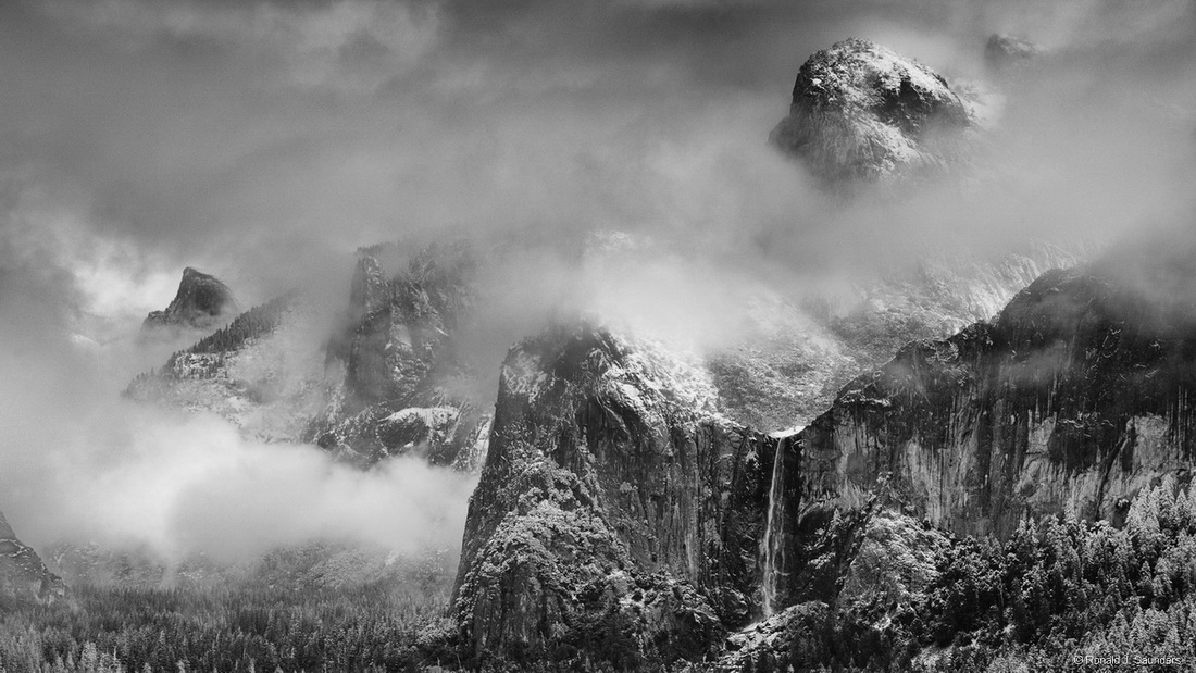 clouds, landscape, ron, Ronald, saunders, tunnel view, black and white, exhibited, exhibition, falls, mountains